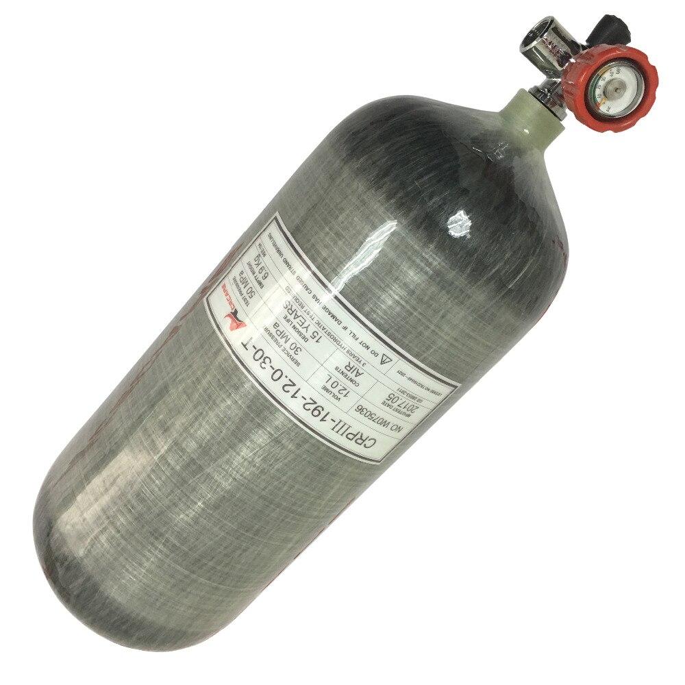 AC31211 300bar 4500psi 12L cylindre en fibre de carbone comprimé réservoir de paintball cylindre en carbone pour plongée airforce condor pcp