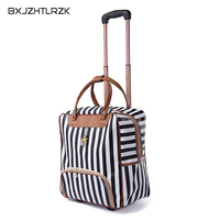 New hot fashion women luggage Carriage suitcase brand Casual striped Rolling Case travel bag with wheels luggage suitcase