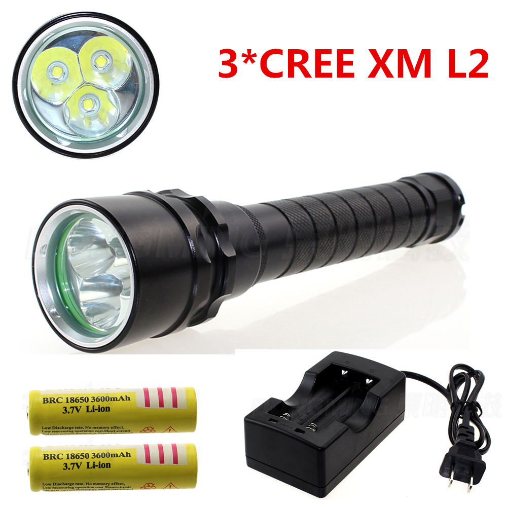 3 X CREE XM L2  6000 lumen poerful led Diving flashlight underwater 100m waterproof Torch with 2* 18650 battery & a charger cree xm l t6 bicycle light 6000lumens bike light 7modes torch zoomable led flashlight 18650 battery charger bicycle clip