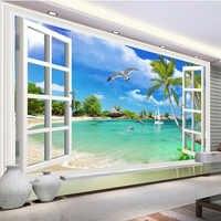 Papel pintado Mural personalizado delfín Seagull playa foto pared papeles Sala De estar TV dormitorio decoración del hogar Papel De Parede Sala 3D