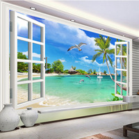 Custom Mural Wallpaper Seaside Dolphin Seagull Sunny Beach Photo Wall Papers Living Room Bedroom Home Decor