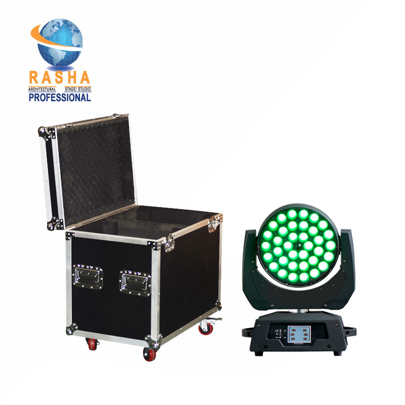 Ship From UK 2X Lot Rasha 36pcs 18W 6in1 RGBAW UV LED Moving Head Wash Light With Zoom DMX Stage Light With 2in1 Flight Case