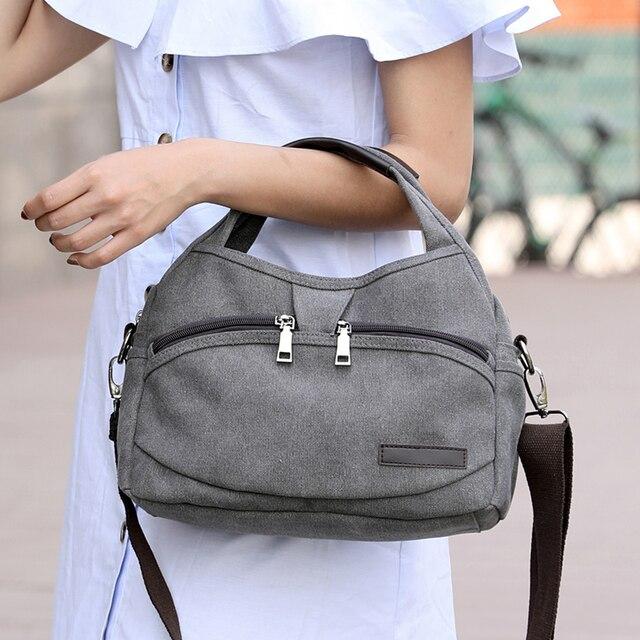 Women's Canvas Handbags Female Hobos Single Shoulder Bags Woman Crossbody Pack Solid Multi-pocket Ladies Totes 1