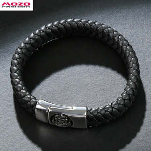 281276c70b3a MOZO FASHION Jewelry Men Leather Stainless Steel Bracelets