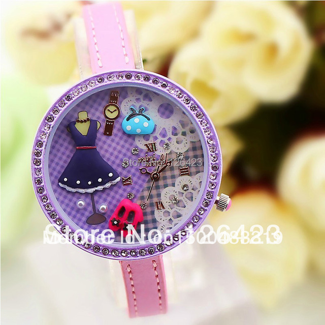 South Korea authentic watch MINI  pure manual purple diamond students princess birthday gift watches