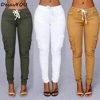 9ea6772d33a 2018 colores del caramelo elástico Sexy Skinny lápiz pantalones vaqueros  para las mujeres pantalones vaqueros mujer