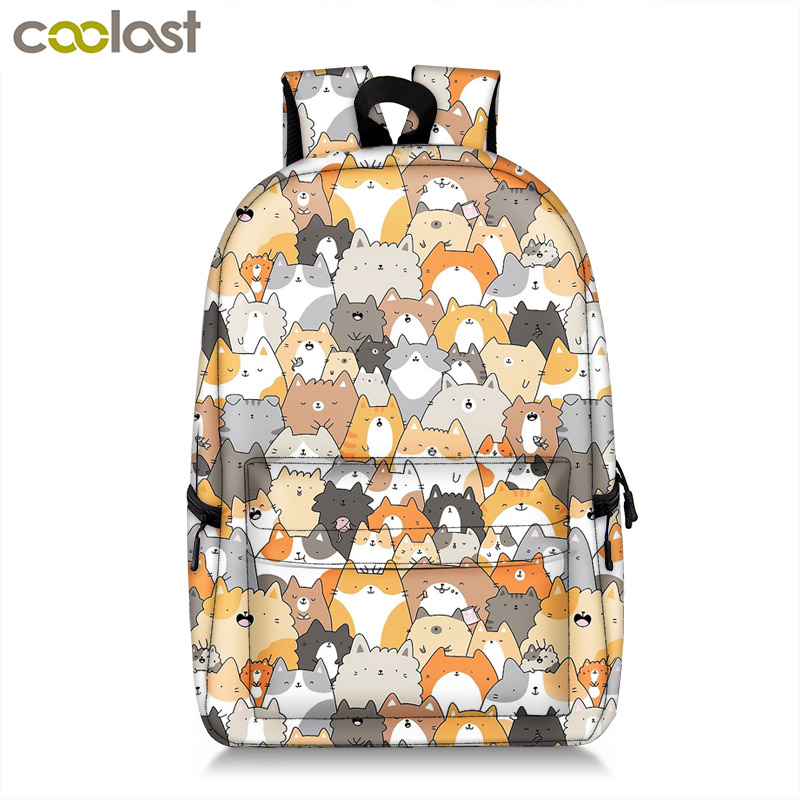Funny Pet Cat Dog Backpack Women Children School Bags For Teenagers Boys Girls Bag Mens Travel Daypack Students Laptop Backpack