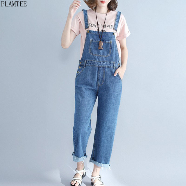44d926fc74228 PLAMTEE Large Sized Denim Overalls Women 2017 New Fashion Solid Color Sleeveless  Jumpsuit Loose Salopette Femme Jean Rompers