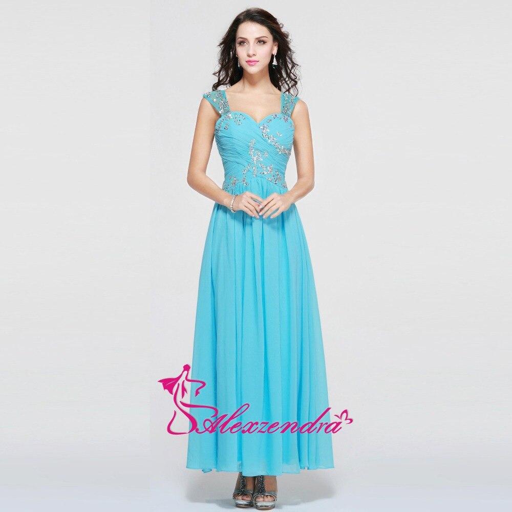 Alexzendra Beads Sweetheart Chiffon Long Prom Dresses with Spaghetti ...