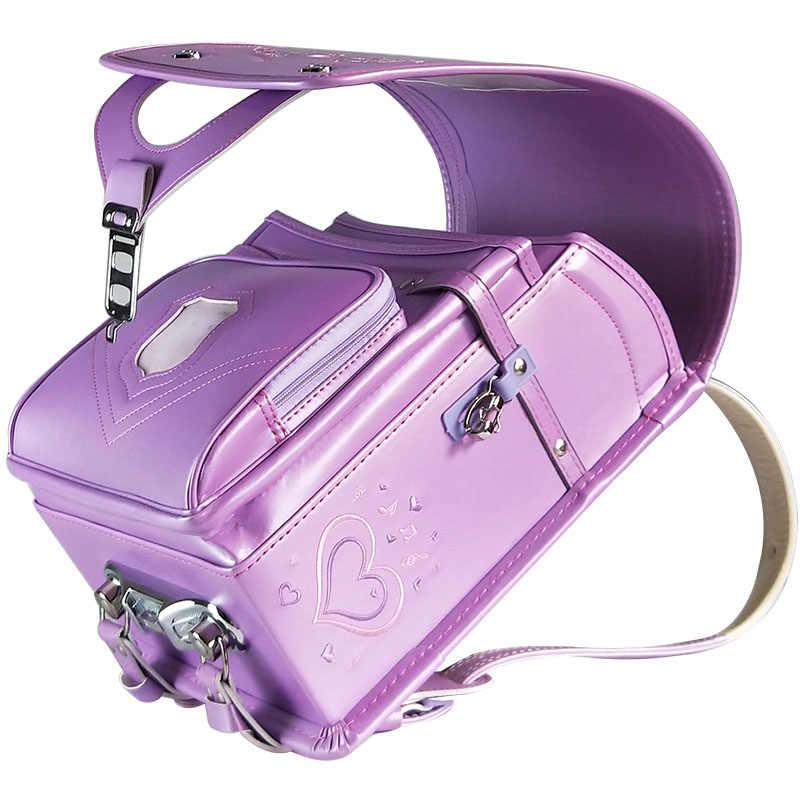Детские школьные ранцы для мальчиков и девочек Япония ортопедический детский школьный рюкзак Водонепроницаемый PU Рюкзак 2019 Стильная Детская Студенческая сумка
