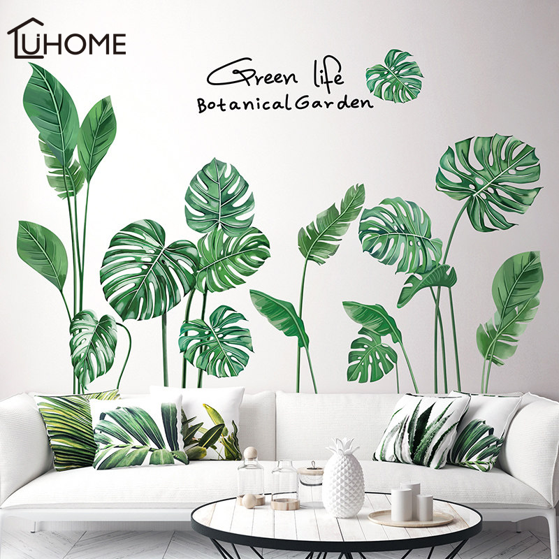 Nordic Tropical Plants Palm Leaves Wall Stickers Decals DIY Home Decoration UK