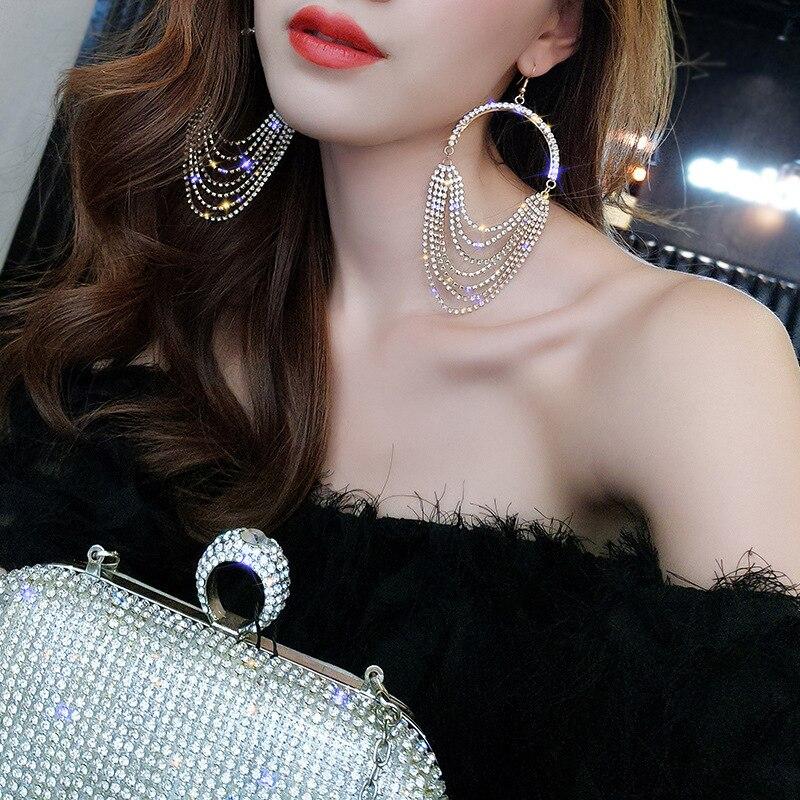 FYUAN European Long Tassel Crystal Drop Earrings Exaggeration Gold Silver Color Rhinestone Earrings for Women Bar Party Jewelry