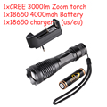 free shipping Cree XM-L T6 3000 Lumen Zoomable torch and Waterproof LED Flashlight + 18650 battery + EU /US charger