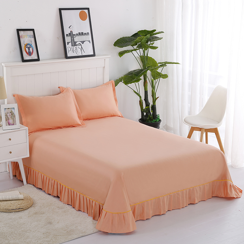 High-Quality Comfortable Hot Bed Sheets Breathable Textile Products Cotton Elegant Jade Bed Sheets + Pillowcase Sets Of 17 Color