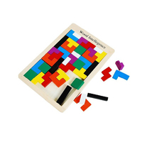 N011 New Toy Board Game Tetris Tangram Puzzle Wooden Brain Teaser Puzzle Toy Children Educational Toy