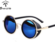 New 2016 STEAMPUNK Retro COATING mens Vintage Round Sunglasses men women Brand Designer Sun Glasses Gafas Oculos De Sol Feminino