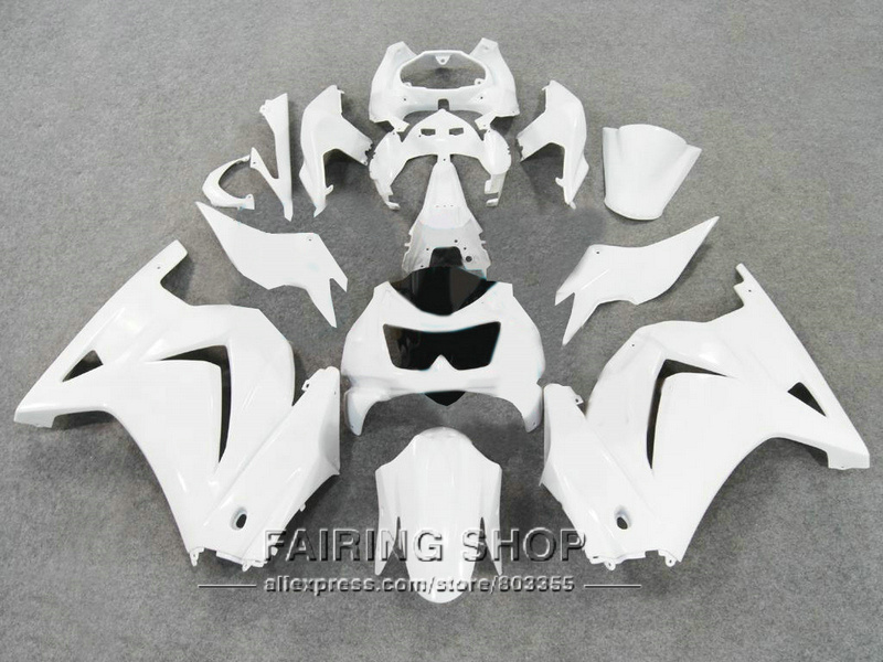 Pure white For Kawasaki 250r 2008 2009 2010 2011 2012 2013 2014 /Injection Fairing kit / zx250r 08 09 10 14 fairings 5
