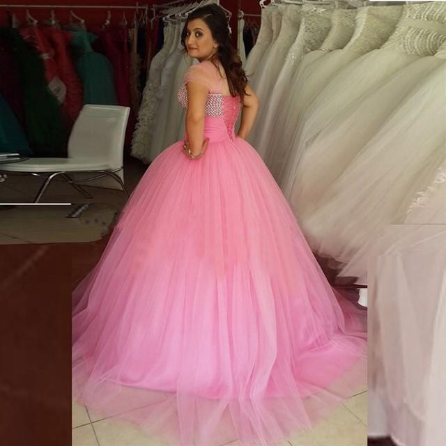 Vestidos De 16 Años BAISIYOUPIN Elegante vestido de Baile Longo Rosa Vestidos Quinceanera Querida Beads Tules Vestidos de Festa Formal Vestido