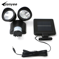 Zonyee 2 11 Led Solar Light Double Head Human Body Induction Sensor Solar Powered Light Garden