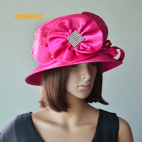 Hot pink All Year Around Satin hat with Rhinestones for Church Kentucky derby.