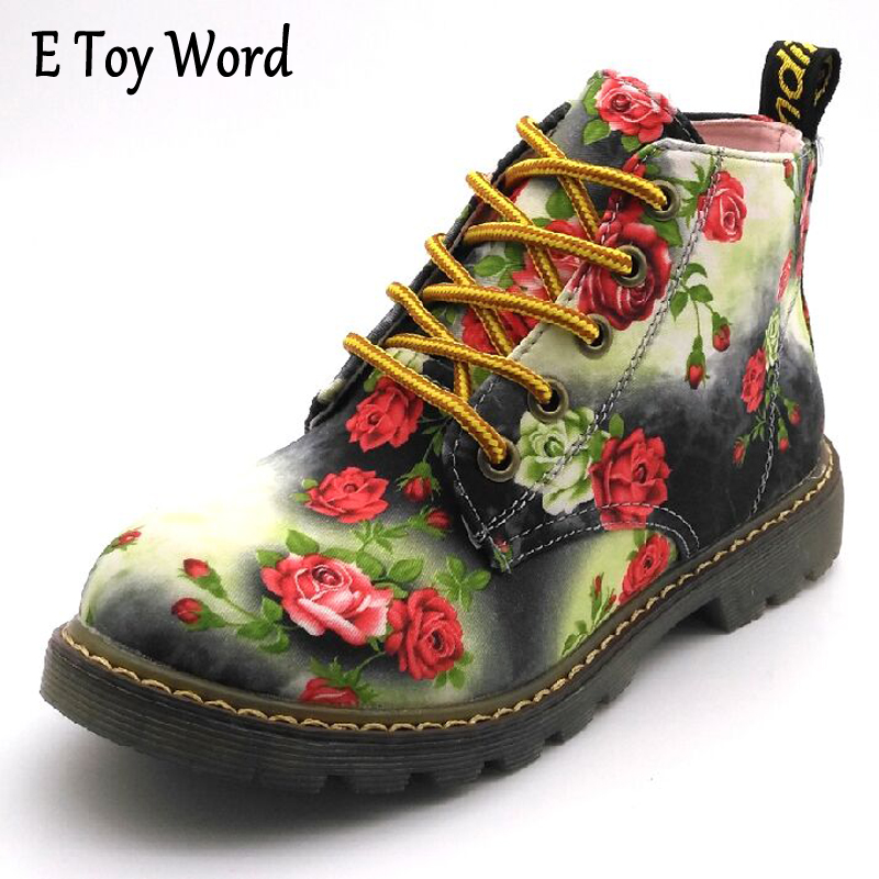 E TOY WORD British Retro print Autumn and Winter Women Ankle Boots Lace Up Flat Martin Boots Motorcycle Boots size 35-40 e toy word bullock ankle boots for women autumn increase lace up martin boots british retro boots winter high help botas mujer