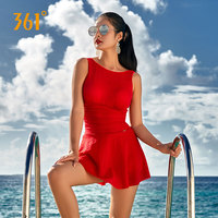 361 Plus Size Swimwear Skirt One Piece Swimsuit Solid Women 2019 Conservative Swim Dress Girl Bather Female Swimsuit Black M 3XL