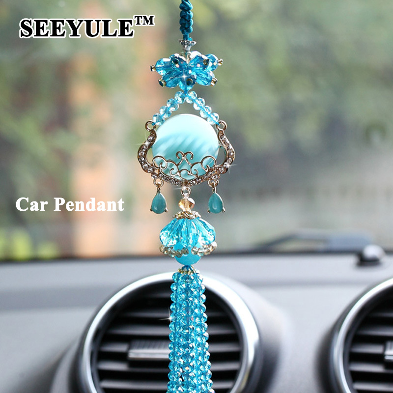 1pc SEEYULE Fashion Hanging Car Styling Pendant Replica Crystal Beautiful Car Ornament Decoration Gift for Womens Cars