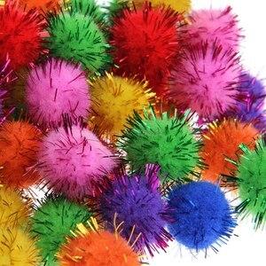 Image 2 - 100Pcs Colorful Mini Sparkly Glitter Tinsel Balls Small Pom Ball For Cat Toys