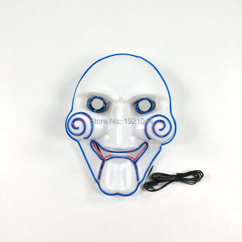 Colorful Party Glowing Mask 10Color Choice EL Wire Flashing Mask High-grade Party Props with DC-3V Sound activated