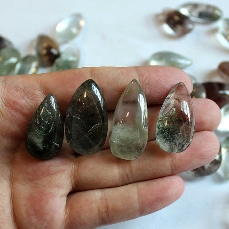 1 Pcs 20*15 Mmstone Hantu Phantom Batu Alam Hantu Hijau Phantomcrystal Kuarsa Batu Permata Spesimen Penyembuhan Batu
