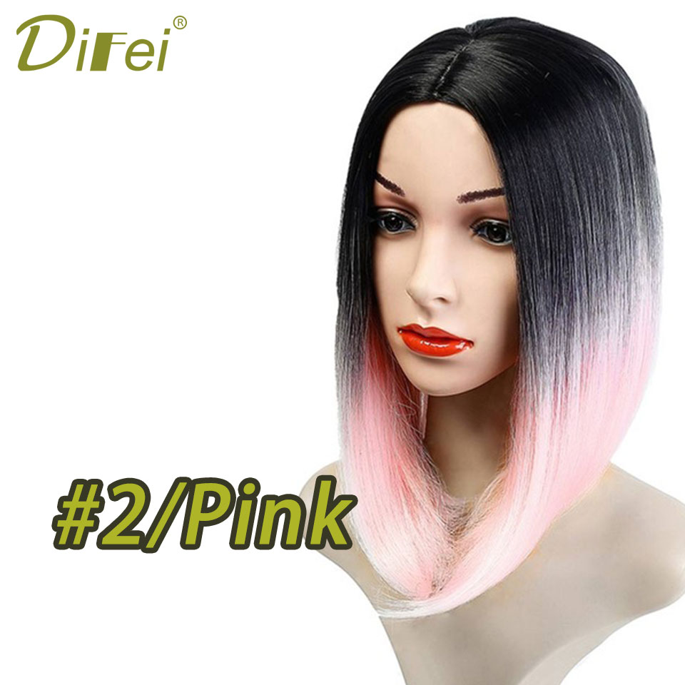 2/Pink Dark Roots Blonde Short Bob High Temperature Fiber Synthetic Hair Wigs Pre Plucked without Baby Hair