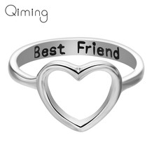 Women's Cutout Heart Ring Best Friend Gifts Cute Lovely Promise Rings For Women girls Unique Gold Silver Jewelry Accessories(China)