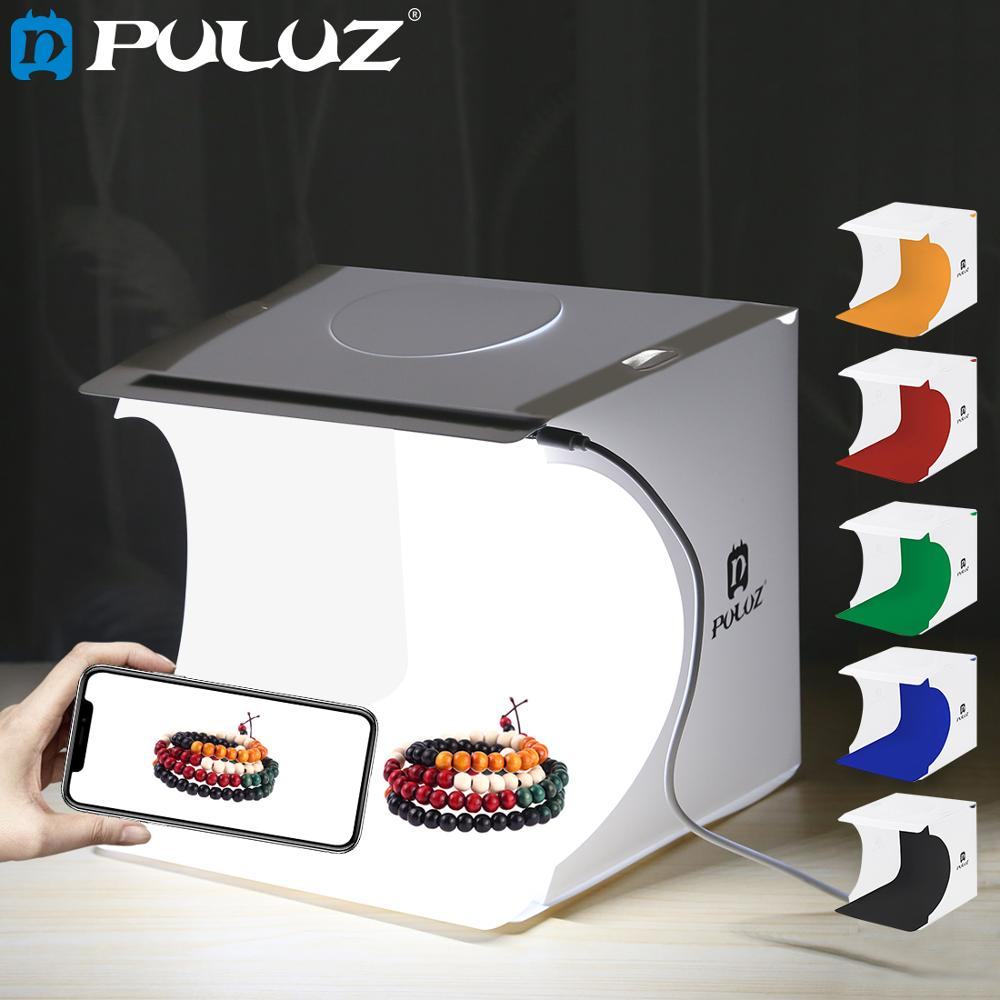 Mini Cuisine Studio Puluz 20 20cm 8 Mini Folding Studio Diffuse Soft Box Lightbox With Led Light Black White Photography