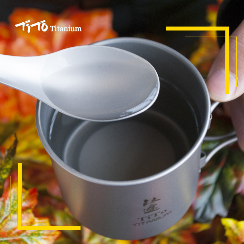TiTo Outdoor Camping Picnic titanium Spoon Tableware titanium Fork Ultralight pure titanium Spork 5