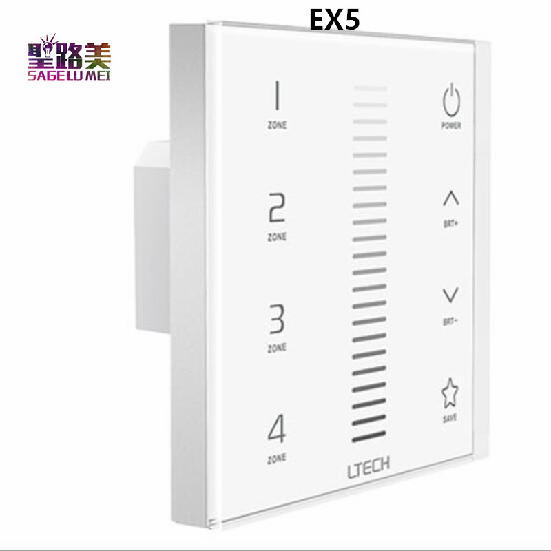 EX5/EX6/EX7/EX7S/EX8/EX8S AC100V 240V RF 2.4GHZ DMX512 4 zone Dimming/CT/RGB/RGBW Wall Mount LED Touch Panel Dimmer Controller