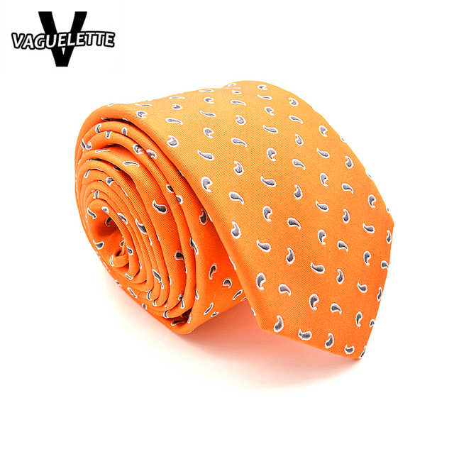 Hecho A Mano de lujo de Los Hombres de Corbata De Seda Impreso Floral Paisley Naranja Corbata Flaca Delgada de Negocios Gravatas Seda Jacquard 7x145x3.5 cm