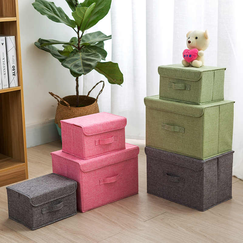 cotton Fabric Cube Storage Box Cartoon Embroidery Laundry Basket for Cupboard Drawer showcas storage holders Toys organizer bins