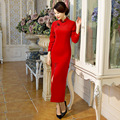 New Arrival Red Improved Woolen Autumn Winter Thickening Warm Women Long Sleeve Dresses Chinese Cheongsam Qipao Vintage Vestidos