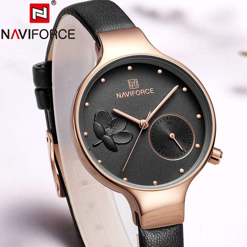 NAVIFORCE Top Brand Women Watch Flower Ladies Wristwatch Genuine Leather Strap Bracelet Female Clock New Relogio Feminino 5001