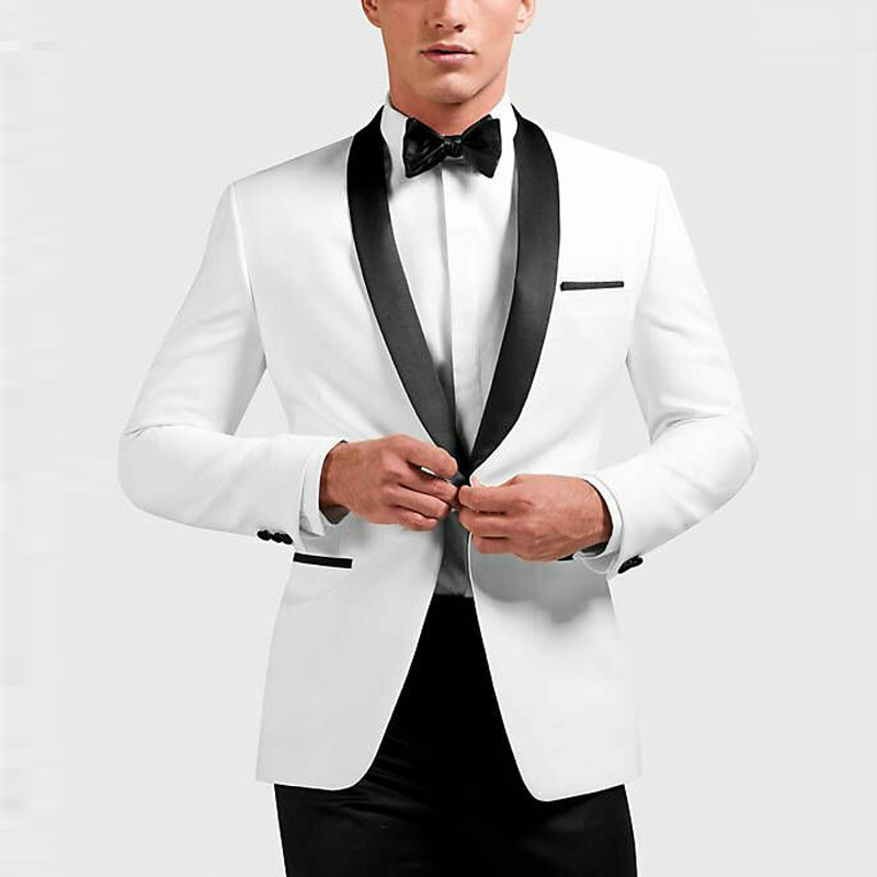 Custom White Men Classic Suits Groom Wedding Suits Man Blazer Tuxedo Black Shawl Lapel 2Pieces Coat Pants Jacket Terno Masculino
