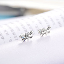 7768d59b1 Silver Color Petite Dragonfly Cubic Zirconia Stud Earrings For Women New  Year Gift Cute Pandora Earrings