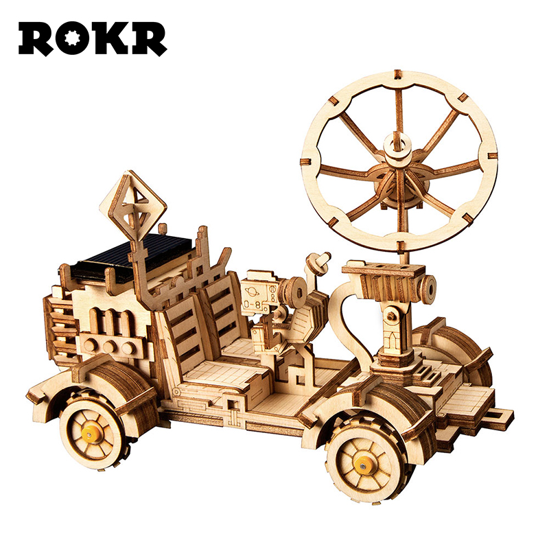 ROKR DIY Moon Buggy Solar Energy Toys 3D Wooden Puzzle Game Assembly Model Building Kit Toys For Children Kids Adult LS401