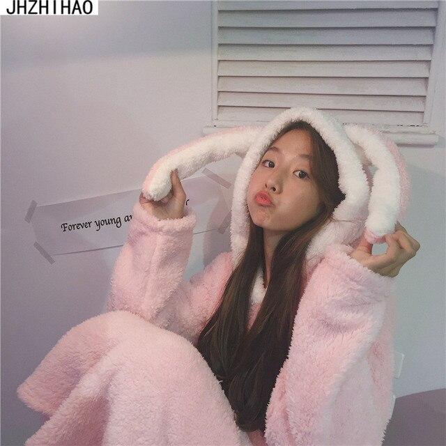 Pajama Sleep Tops Lounge Pajamas Suit Female Cartoon Rabbit Animal Pants Sleepwear Thick Pajamas
