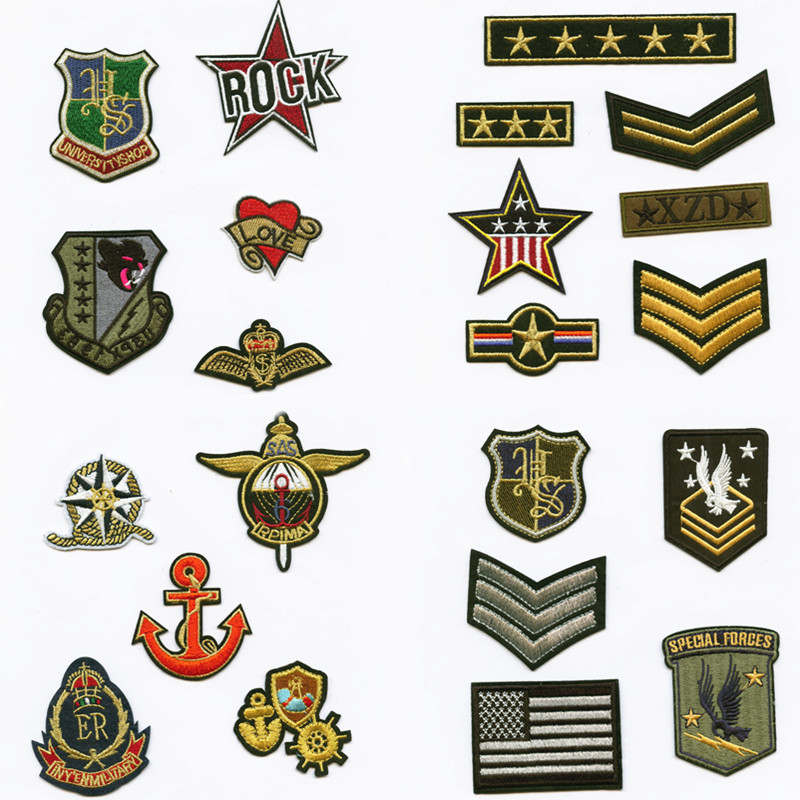 5 Stars Fashion College Style Patchwork Patch Embroidered Patches For Clothing Iron On For Close Shoes Bags Badges in Patches from Home Garden