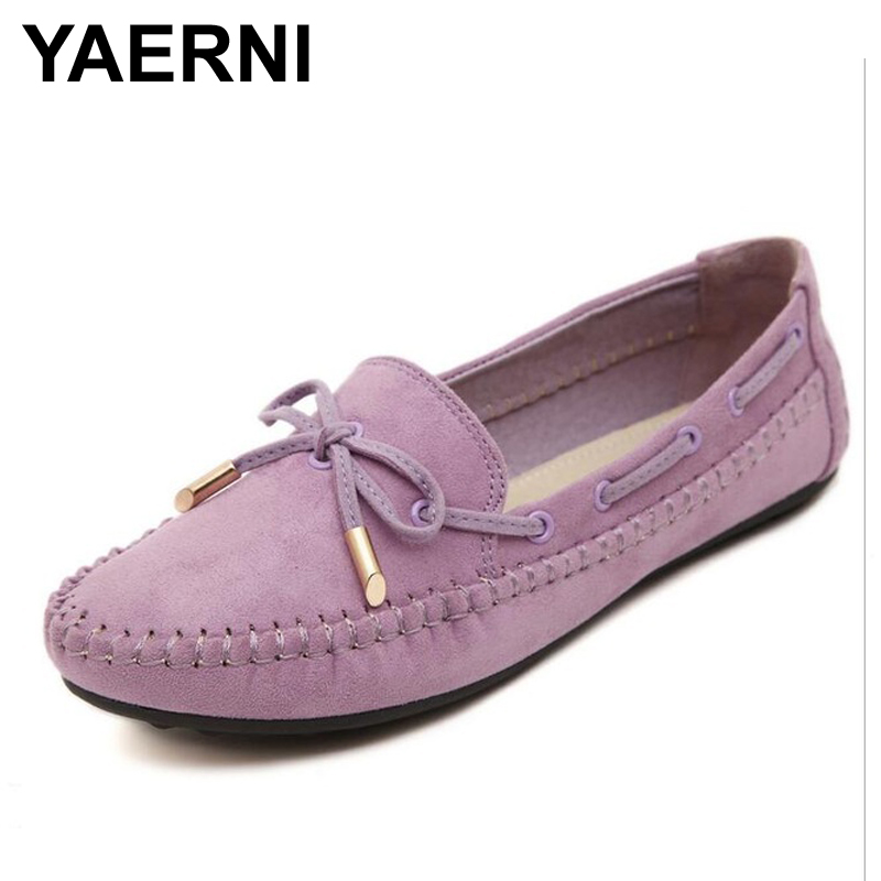 YAERNI Womens Flats Casual Bowtie Loafers Sweet Candy Colors Flats Solid Summer Shoes Woman Moccasins Female Footwear Plus Size plus size 34 41 black khaki lace bow flats shoes for womens ds219 fashion round toe bowtie sweet spring summer fall flats shoes