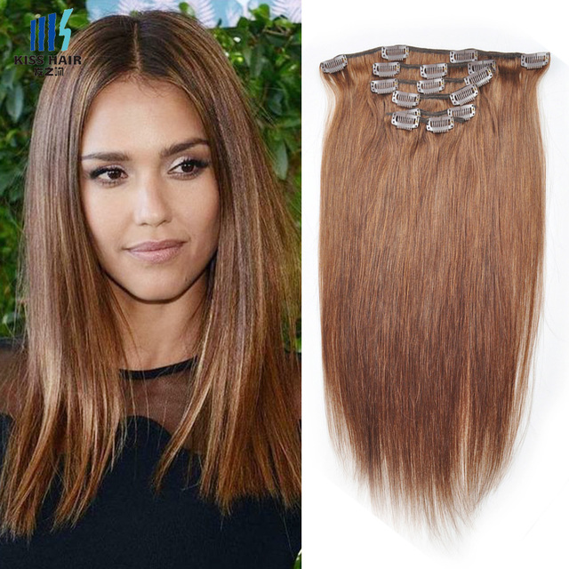 1 Set Clip In Human Hair Extensions High Quality Color 4 Light Brown