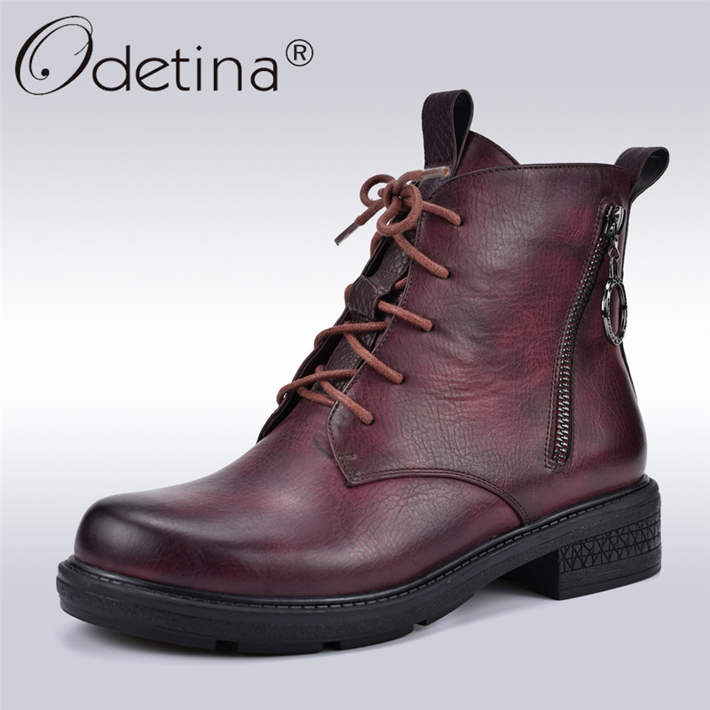 Odetina Retro Wine Red Women Martin Boots Platform Chunky Heels Fashion Zip On Two Sides Women Lace Up Ankle Boots Autumn Winter lucky lace up long sleeve layered women s wine red romper
