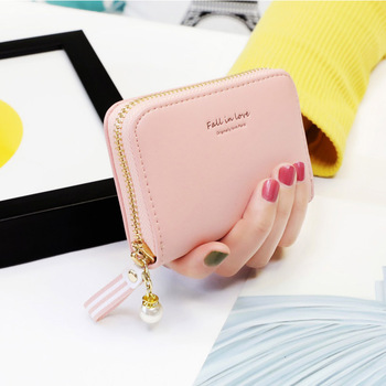 Brand Fashion Card Bag PU Leather Credit card holder women's card Pearl pendant  through 10 Card slot