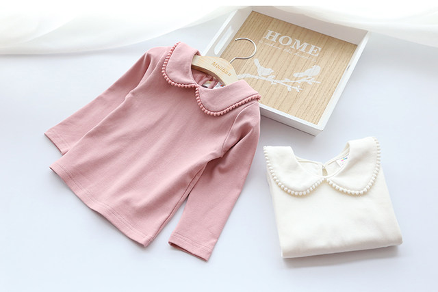 2018 Spring Autumn 2-10 Years Old Baby Children'S Clothing Long Sleeve Solid Pure Color Cute Cartoon Kids Girls Basic T Shirts (12)