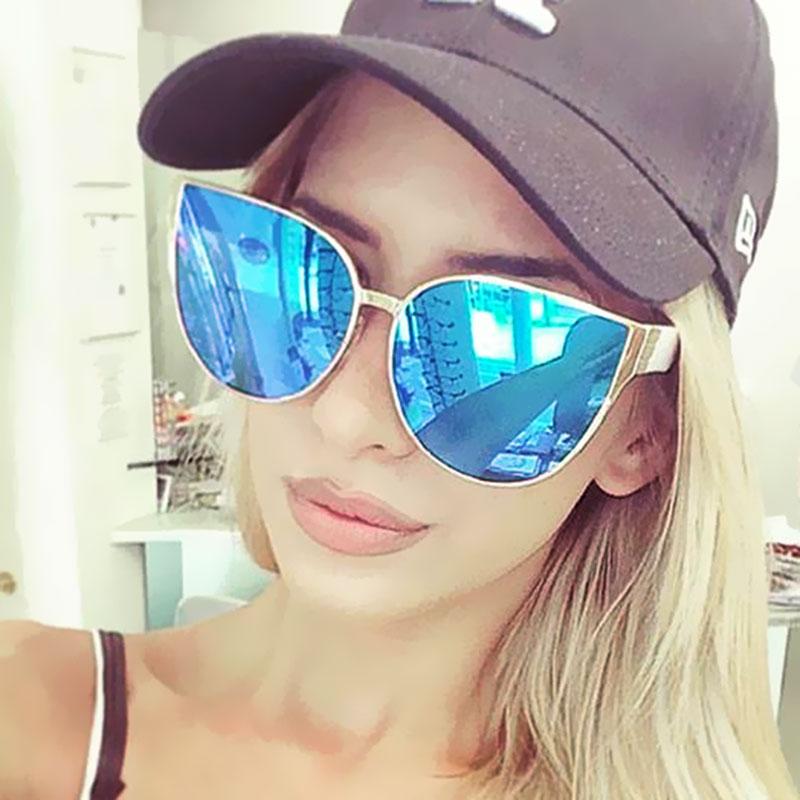 Cat Eye Sunglasses Women Mirror Pink 2017 New Brand Design Big Size Female Points Trend Sun Glasses Shades Summer Hot Sale UV400